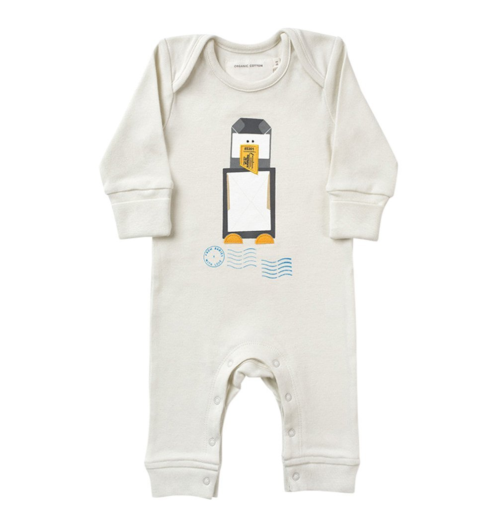 Buy the Penguin Babygro in French Grey by FROM BABIES WITH LOVE from Me and Buddy
