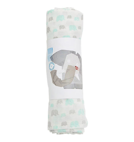 Buy the Susie J Verrill Elephant Family Swaddle in Grey / Mint by FROM BABIES WITH LOVE from Me and Buddy