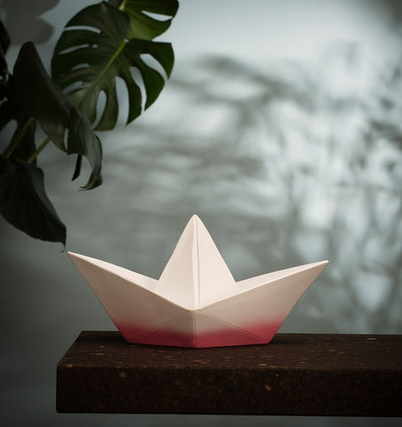 GOODNIGHT LIGHT Lighting Origami Boat Lamp in Dipped Pink