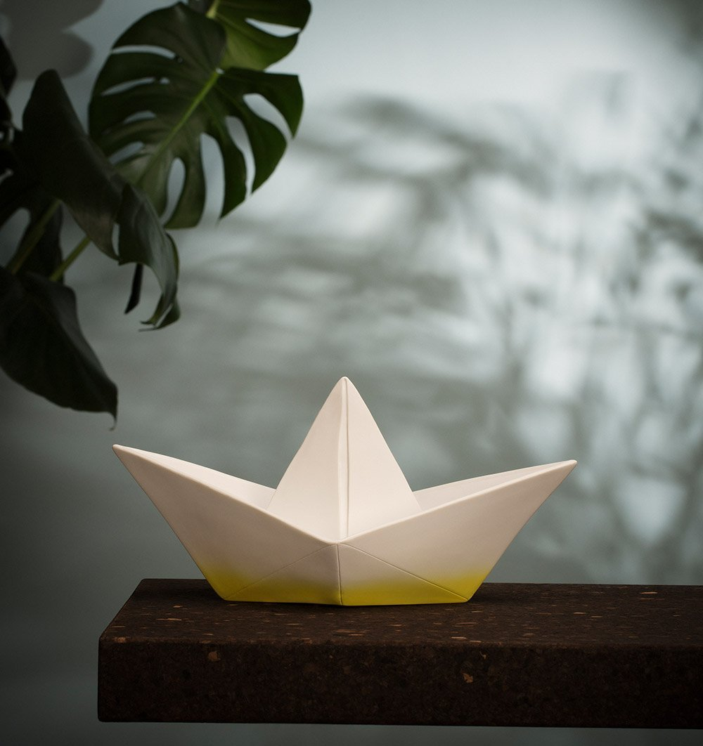 GOODNIGHT LIGHT Lighting Origami Boat Lamp in Dipped Yellow