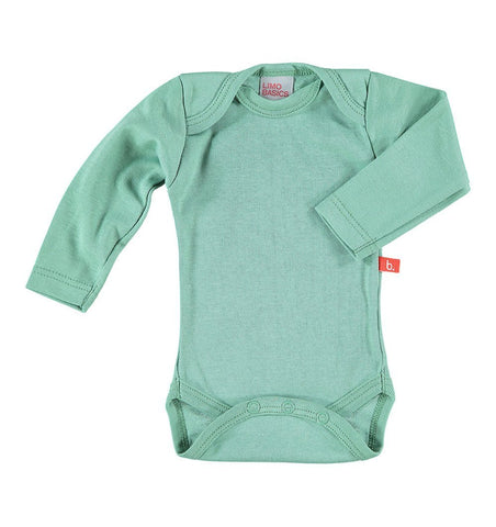 Buy the Long Sleeved Bodysuit in Moss Green by LIMOBASICS from Me and Buddy