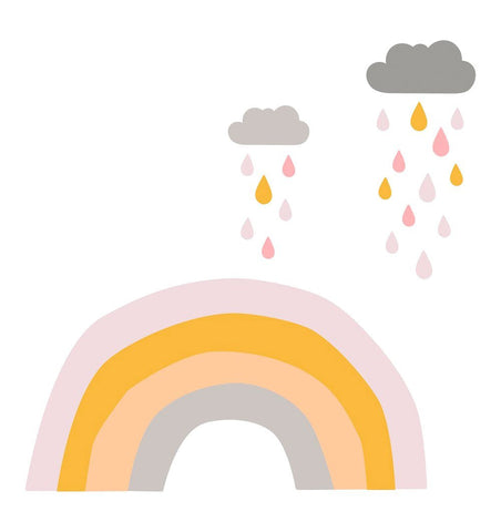Buy the Raindrops & Rainbows Large Fabric Wall Sticker Set by LOVE MAE from Me and Buddy