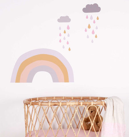 LOVE MAE decor Raindrops & Rainbows Large Fabric Wall Sticker Set