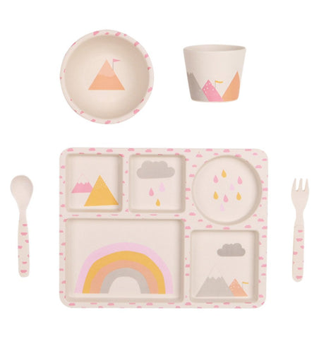 Buy the Rainbows 5 Piece Bamboo Dinner Set by LOVE MAE from Me and Buddy
