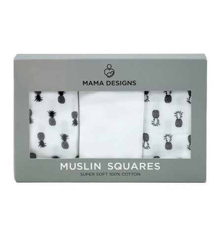 Buy the Muslins in Monochrome Pineapple 3-Pack by MAMA DESIGNS from Me and Buddy