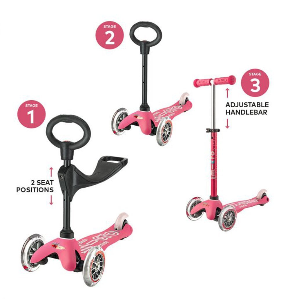 Buy the Mini Micro 3in1 Deluxe Scooter in Pink by MICRO SCOOTERS from Me and Buddy