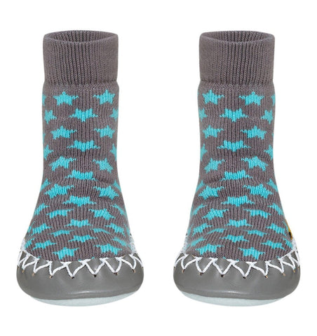 Buy the Swedish Moccasin Slipper Socks in Grey with Turquoise Stars by MOCCIS from Me and Buddy