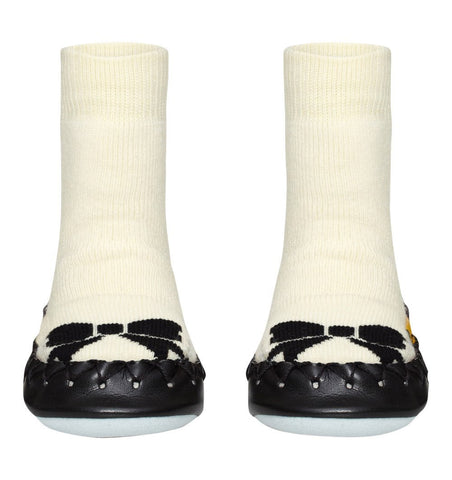 Buy the Swedish Moccasin Slipper Socks in Monochrome Bow by MOCCIS from Me and Buddy