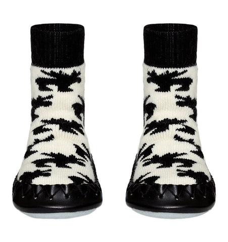 Buy the Swedish Moccasin Slipper Socks in Monochrome Moose by MOCCIS from Me and Buddy