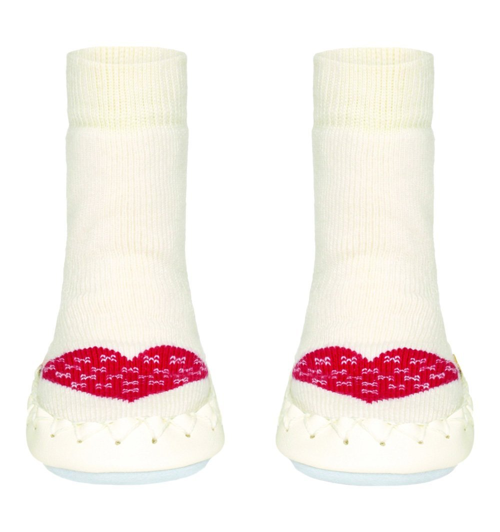 Buy the Swedish Moccasin Slipper Socks in White with Red Heart by MOCCIS from Me and Buddy
