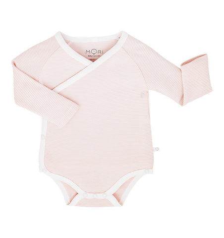 Buy the Mori Long Sleeve Kimono Bodysuit in Blush Stripe by MORI from Me and Buddy