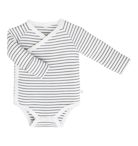 Buy the Mori Long Sleeve Kimono Bodysuit in Grey Stripe by MORI from Me and Buddy