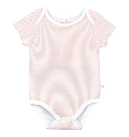 Buy the Mori Short Sleeve Bodysuit in Blush Stripe by MORI from Me and Buddy