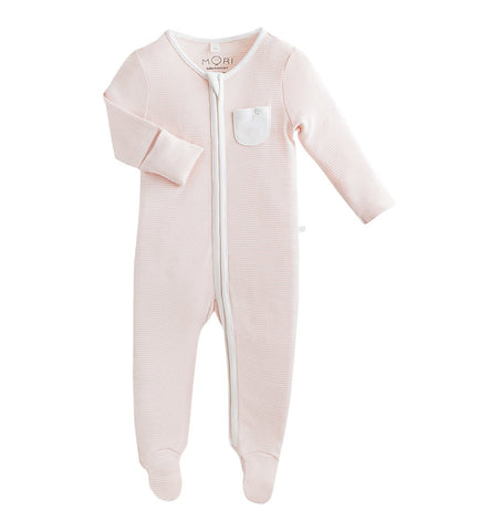 Buy the Mori Zip-Up Sleepsuit in Blush Stripe by MORI from Me and Buddy