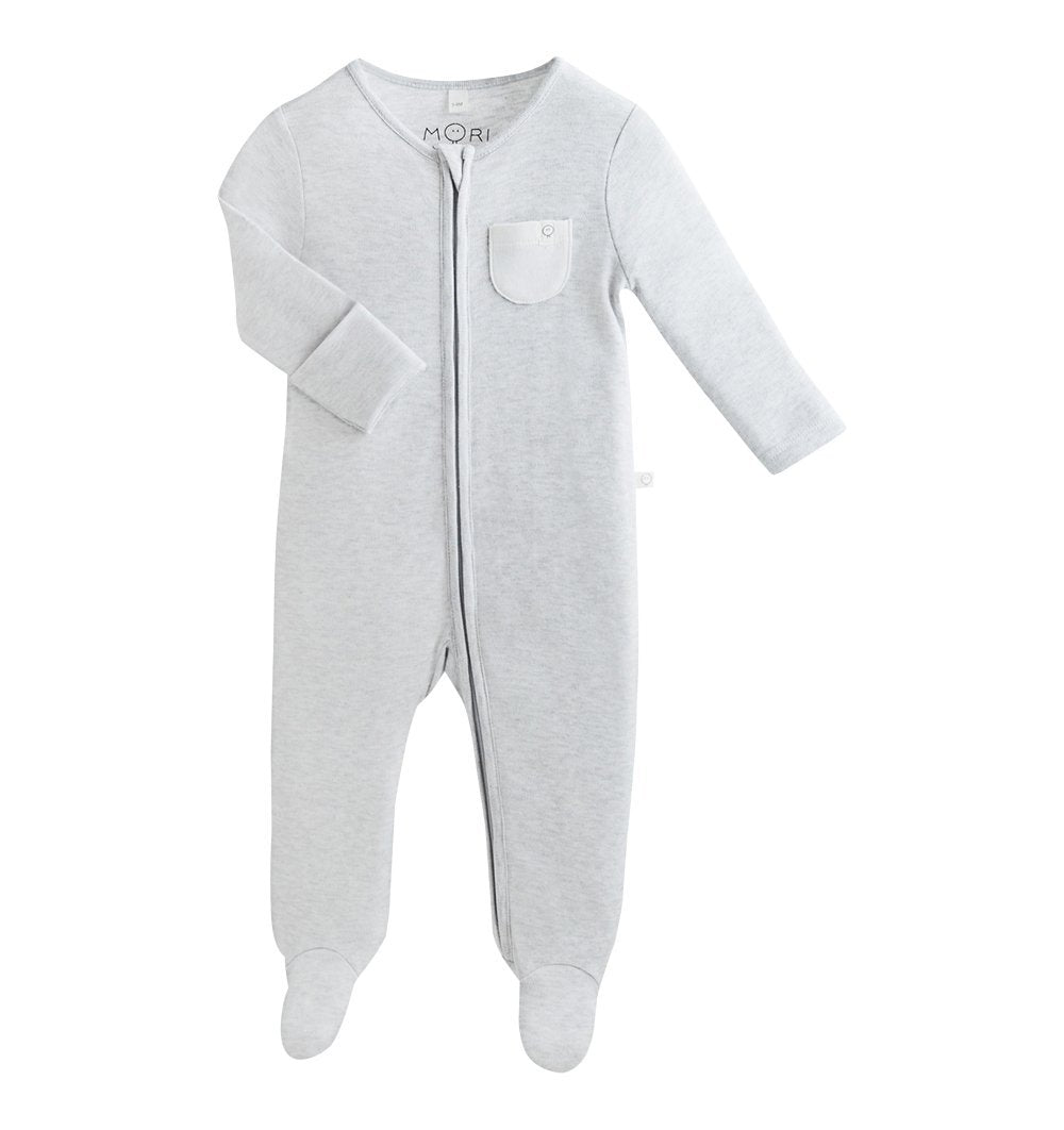 Buy the Mori Zip-Up Sleepsuit in Grey by MORI from Me and Buddy