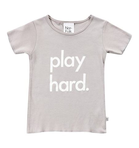 Buy the Play Hard T-shirt in Grey by NOR-FOLK from Me and Buddy