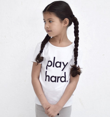 Buy the Play Hard T-shirt in White by NOR-FOLK from Me and Buddy