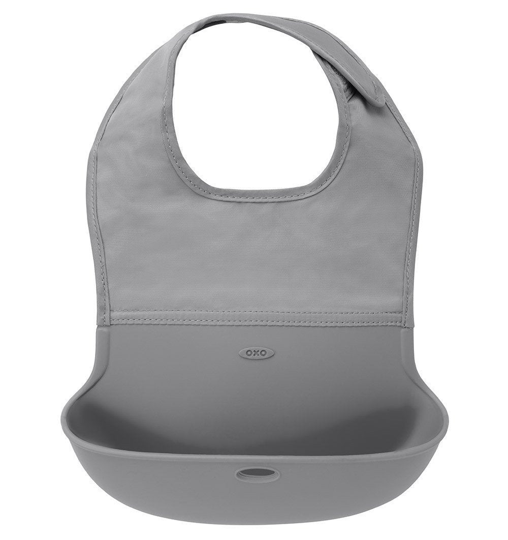 Buy the OXO Tot Roll Up Bib in Grey by OXO TOT from Me and Buddy