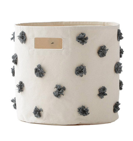 Buy the Charcoal Pom Pom Large Canvas Storage Container by PEHR from Me and Buddy