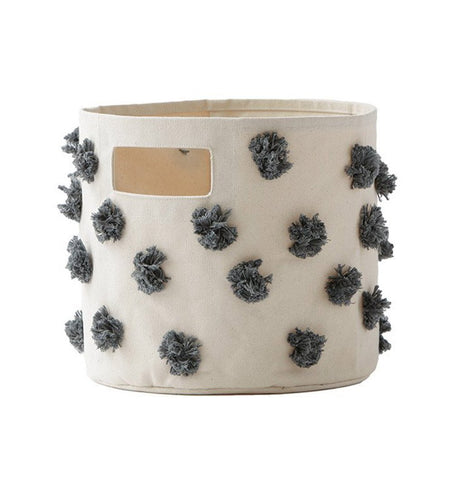 Buy the Charcoal Pom Pom Medium Canvas Storage Container by PEHR from Me and Buddy