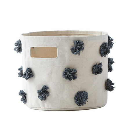 Buy the Charcoal Pom Pom Small Canvas Storage Container by PEHR from Me and Buddy