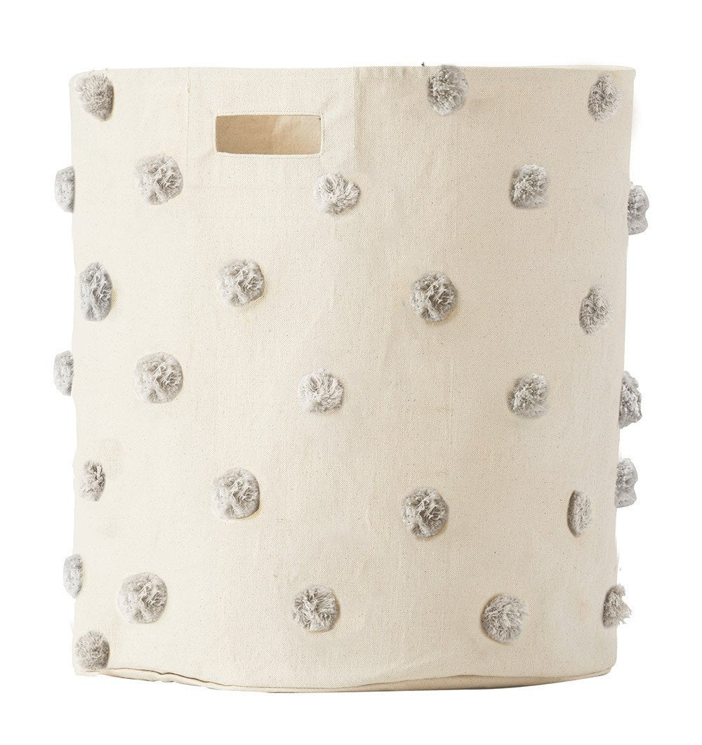 Buy the Grey Pom Pom Extra Large Canvas Storage Container by PEHR from Me and Buddy