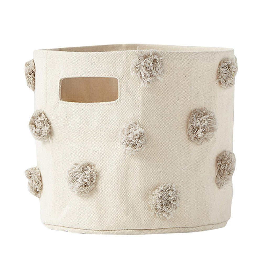 Buy the Grey Pom Pom Small Canvas Storage Container by PEHR from Me and Buddy