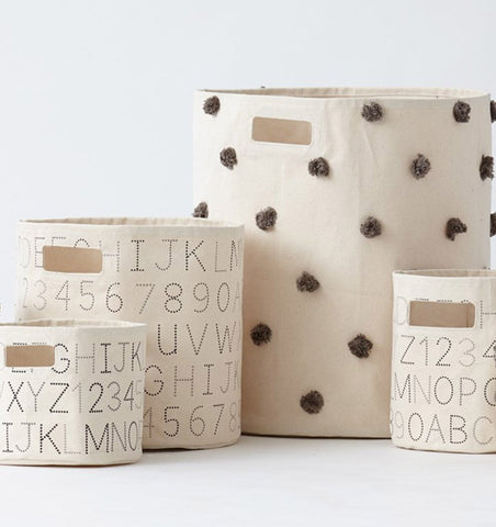 Buy the Monochrome Alphabet Small Canvas Storage Container by PEHR from Me and Buddy