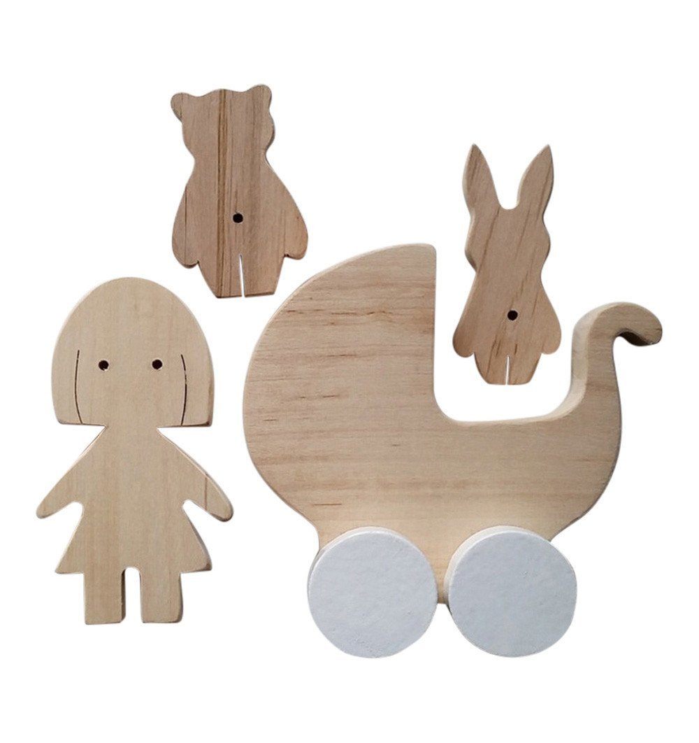 Buy the Natural Wooden Girl and Stroller Set by PINCH TOYS from Me and Buddy