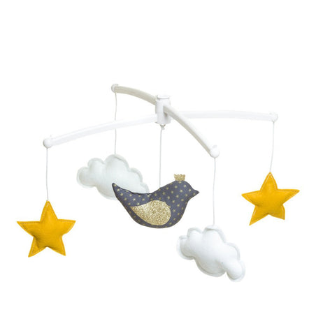 Buy the Musical Bird Mobile in Blue, White and Gold by POUCE ET LINA from Me and Buddy