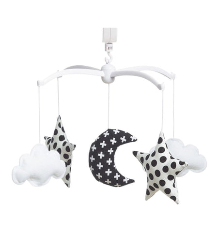 Buy the Musical Moon and Stars Mobile in White and Black by POUCE ET LINA from Me and Buddy