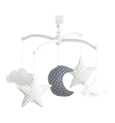 Buy the Musical Moon and Stars Mobile in White and Grey by POUCE ET LINA from Me and Buddy