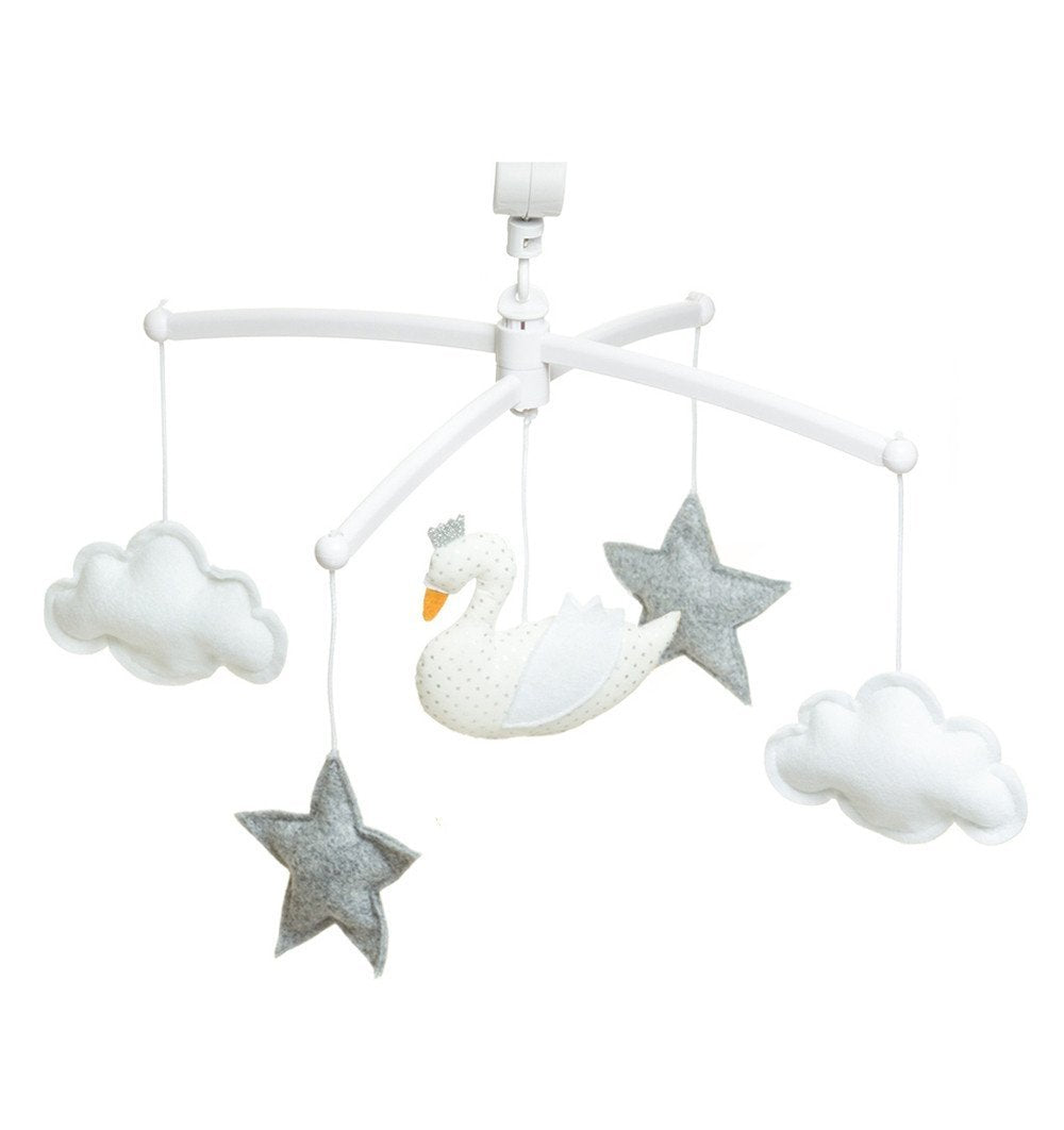 Buy the Musical Swan Mobile in White and Grey by POUCE ET LINA from Me and Buddy