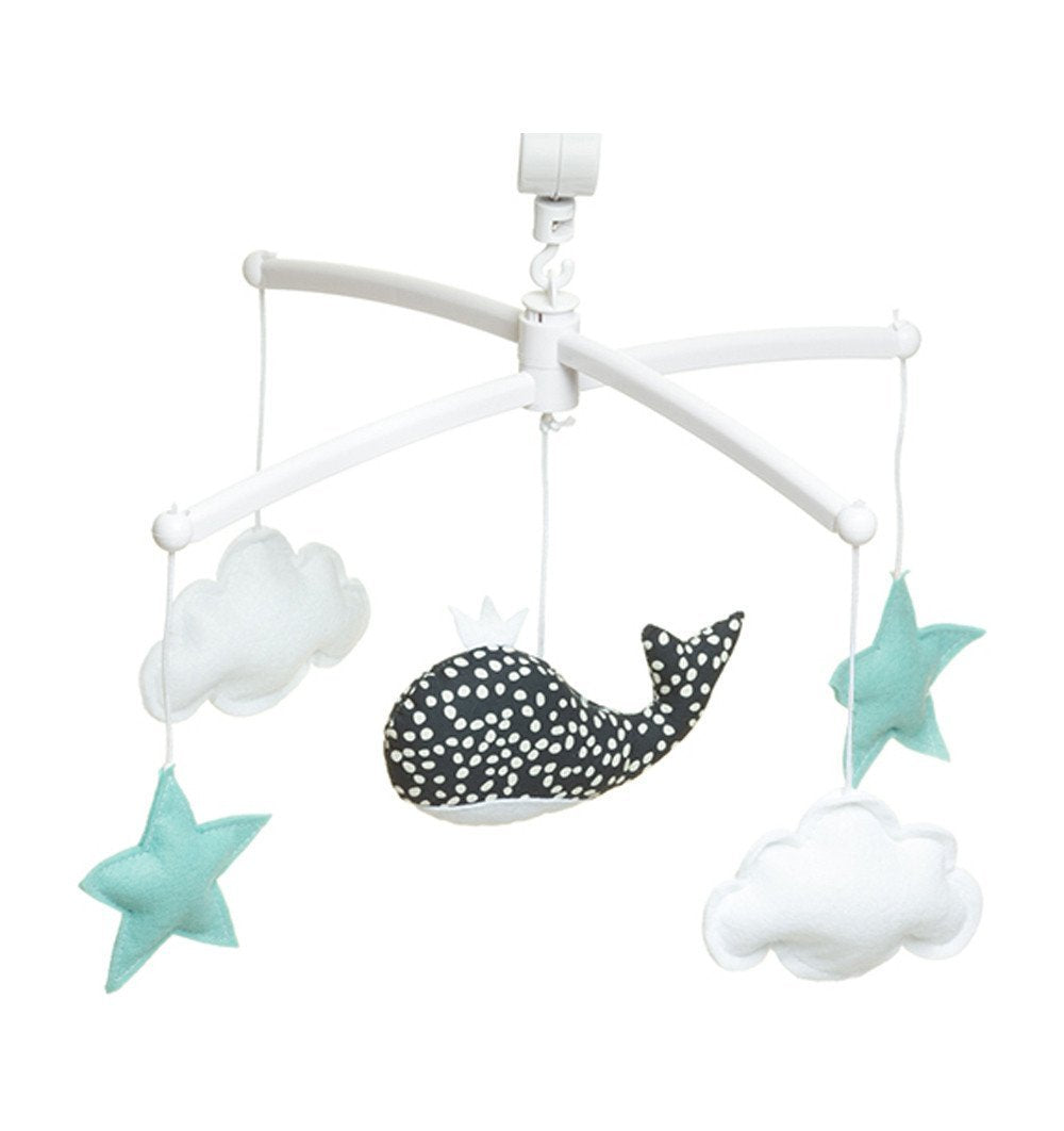 Buy the Musical Whale Mobile in Midnight Blue, White and Turquoise by POUCE ET LINA from Me and Buddy