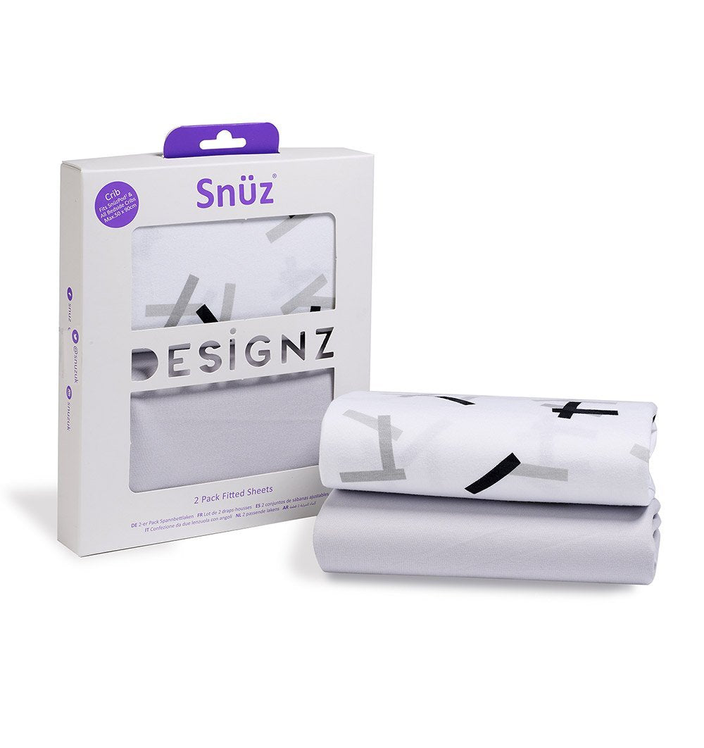 Buy the Snüz Crib Sheets 2-Pack in Geo Mono by SNUZ from Me and Buddy