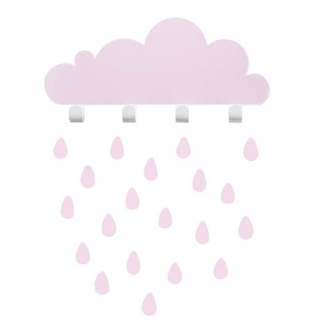 Buy the Cloud Wall Hooks with Raindrop Stickers in Pink by TRESXICS from Me and Buddy