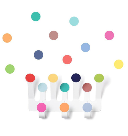 Buy the Coloured Dots Wall Hooks with Matching Wall Stickers by TRESXICS from Me and Buddy