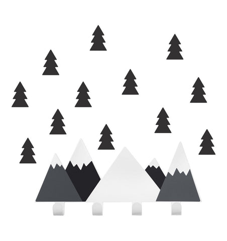 Buy the Mountain Wall Hooks with Tree Stickers in Black by TRESXICS from Me and Buddy