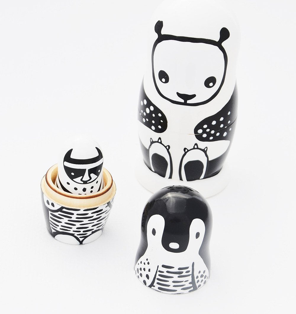 Buy the Wee Gallery Nesting Dolls - Black and White Animals by WEE GALLERY from Me and Buddy