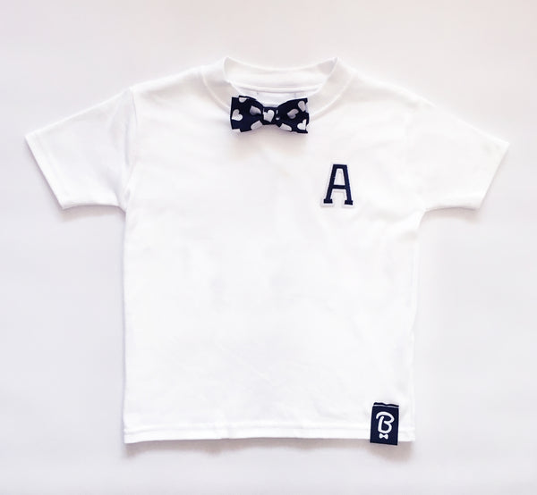 Two for £50 | Baby + Toddler Personalised Love Letter Bow Tie Bowtee T-Shirt