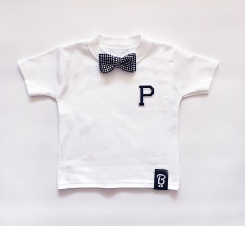 Baby + Toddler Houndstooth Personalised Bow Tie Bowtee T-Shirt