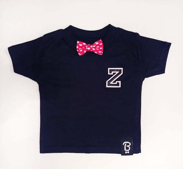 Baby + Toddler Heart Personalised Bow Tie Bowtee T-Shirt