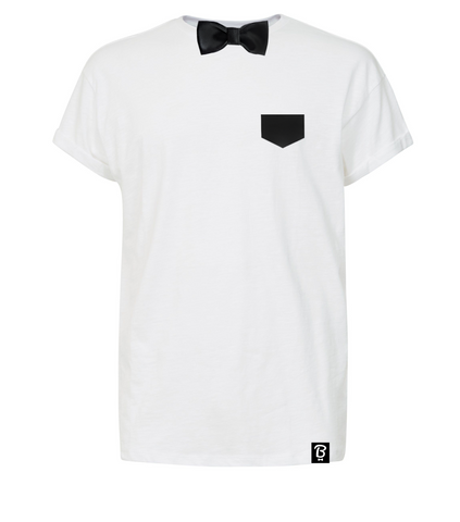 Black Satin Bowtee Bow Tie T-Shirt