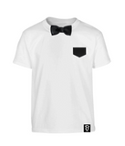 Kids Black Satin Bowtee Bow Tie T-Shirt