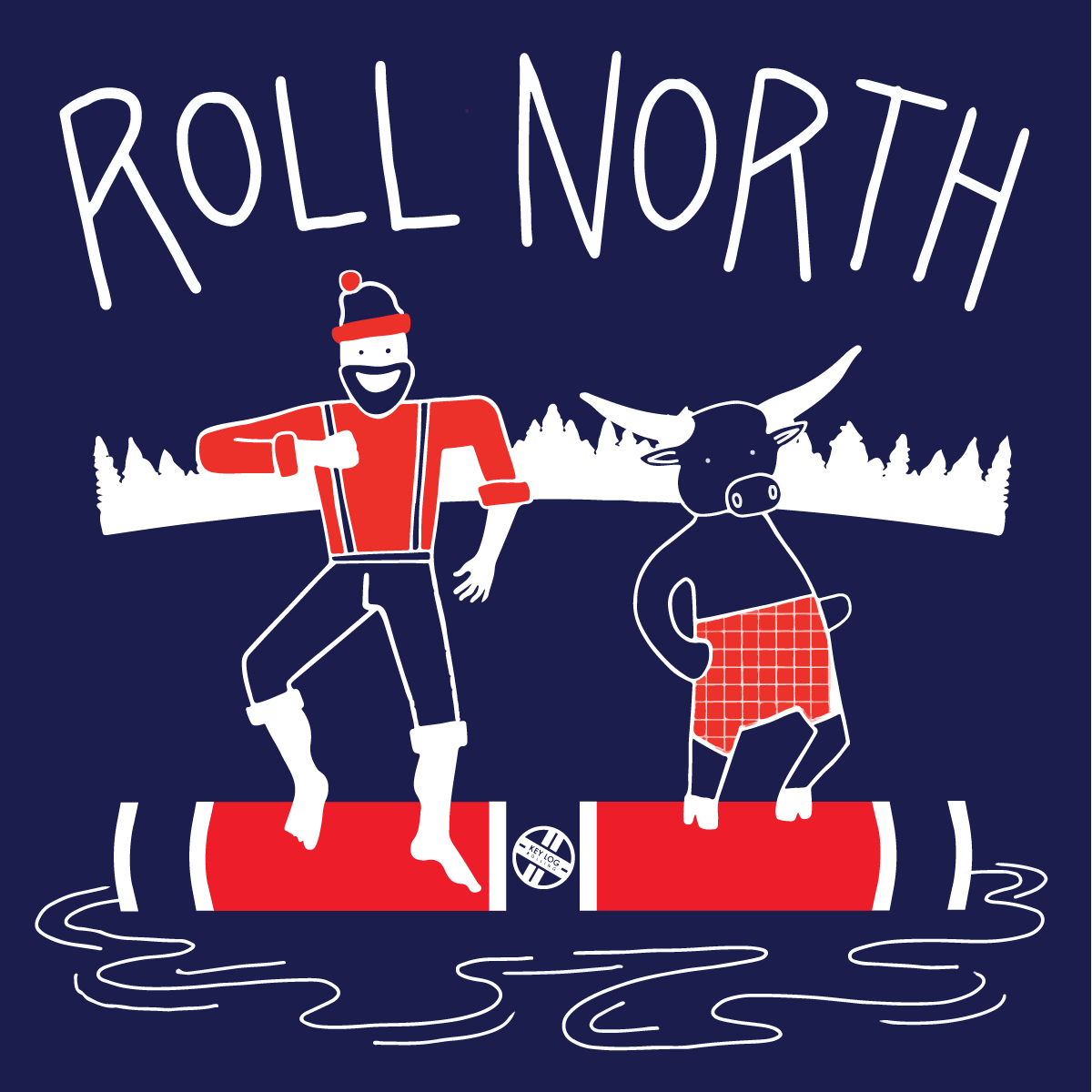 Roll North Tee - Key Log Rolling