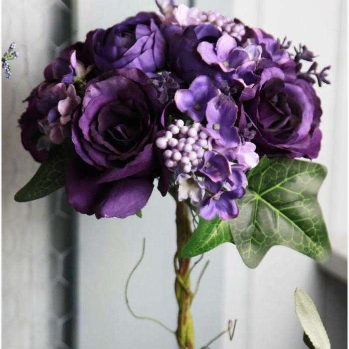 Bouquet of Roses & Hydrangeas Deep Purple