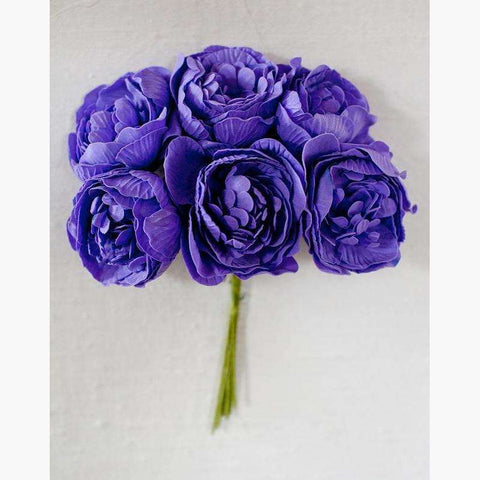 Luxury Peony Rose 6pc/Bunch in Purple