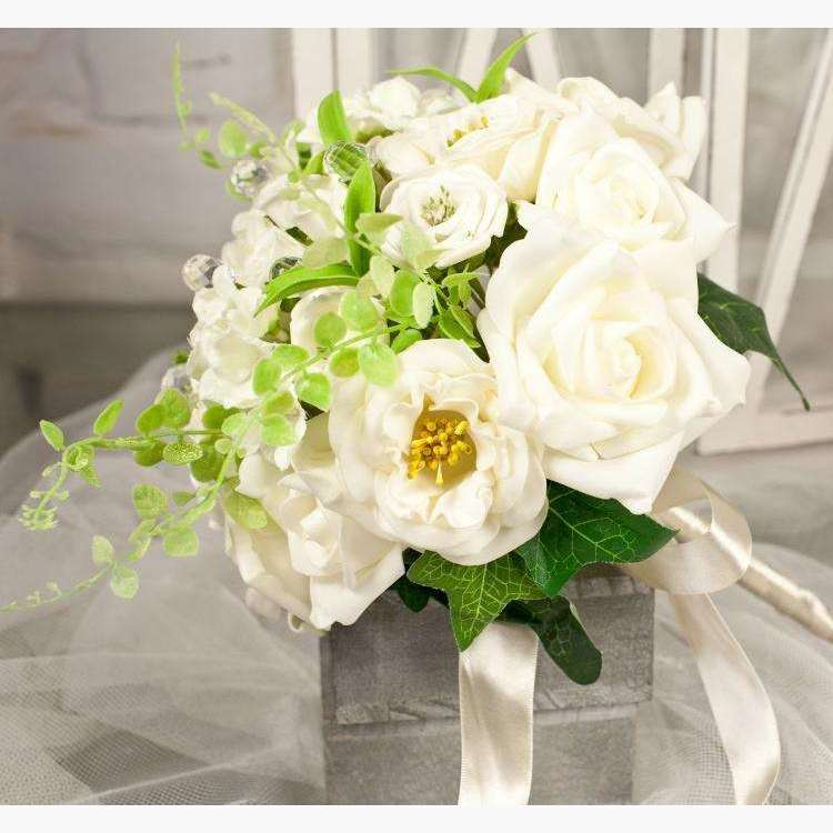 Large Mixed Style Cream Rose Bouquet with Beads