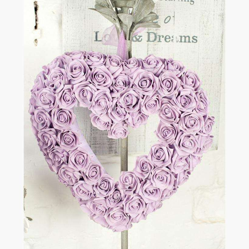 Lilac Cluster Rose Heart With Organza Ribbon Handle