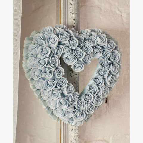French Blue Cluster Rose Heart With Organza Ribbon Handle